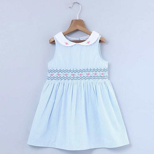 Beebay Floral Embroidered Shirred Dress For Kids