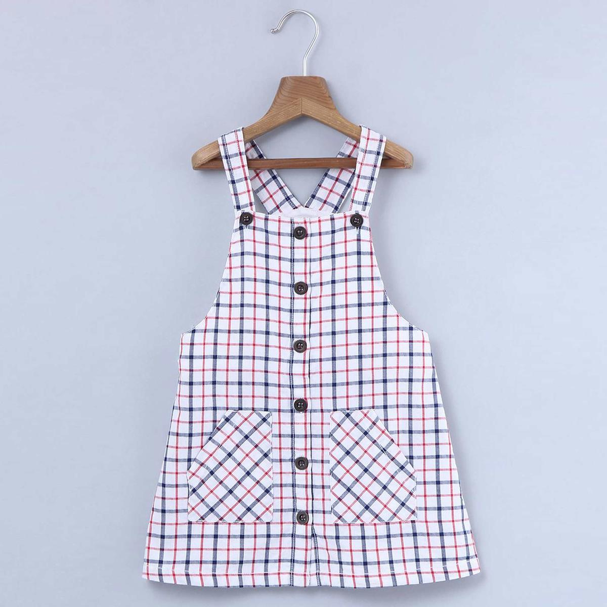 Beebay Checked Dungaree Dress For Infants