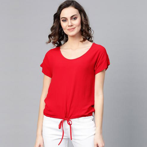 Intricate Red Colored Casual Wear Georgette Top