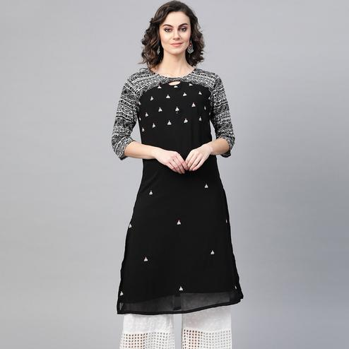 Sophisticated Black Colored Party Wear Printed Georgette Kurti