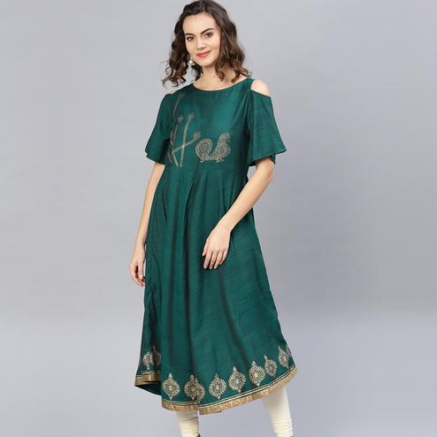 Trendy Green Colored Party Wear Cold Shoulder Printed Rayon Kurti
