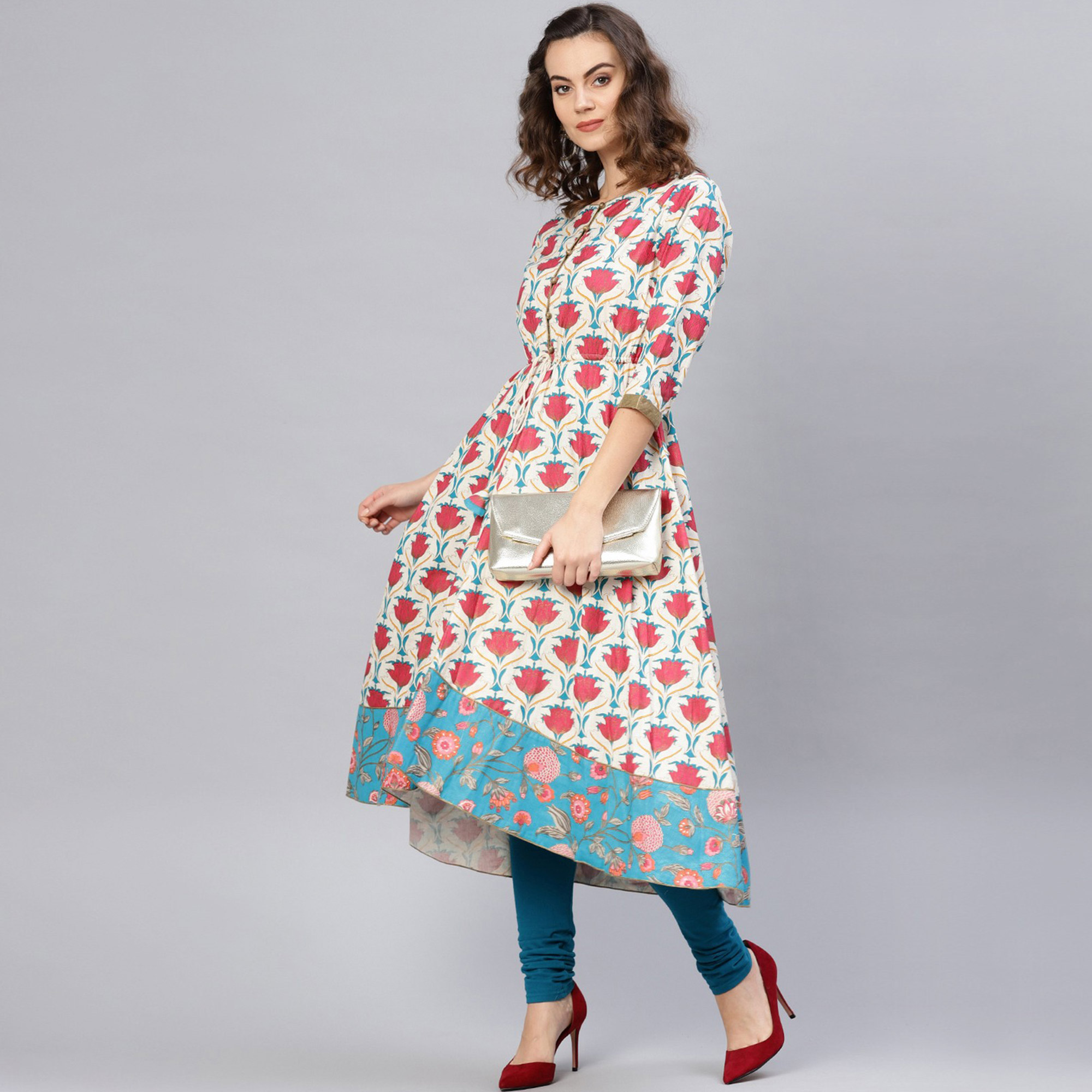 Pleasant Cream-Red Colored Casual Wear Floral Printed Cotton Kurti