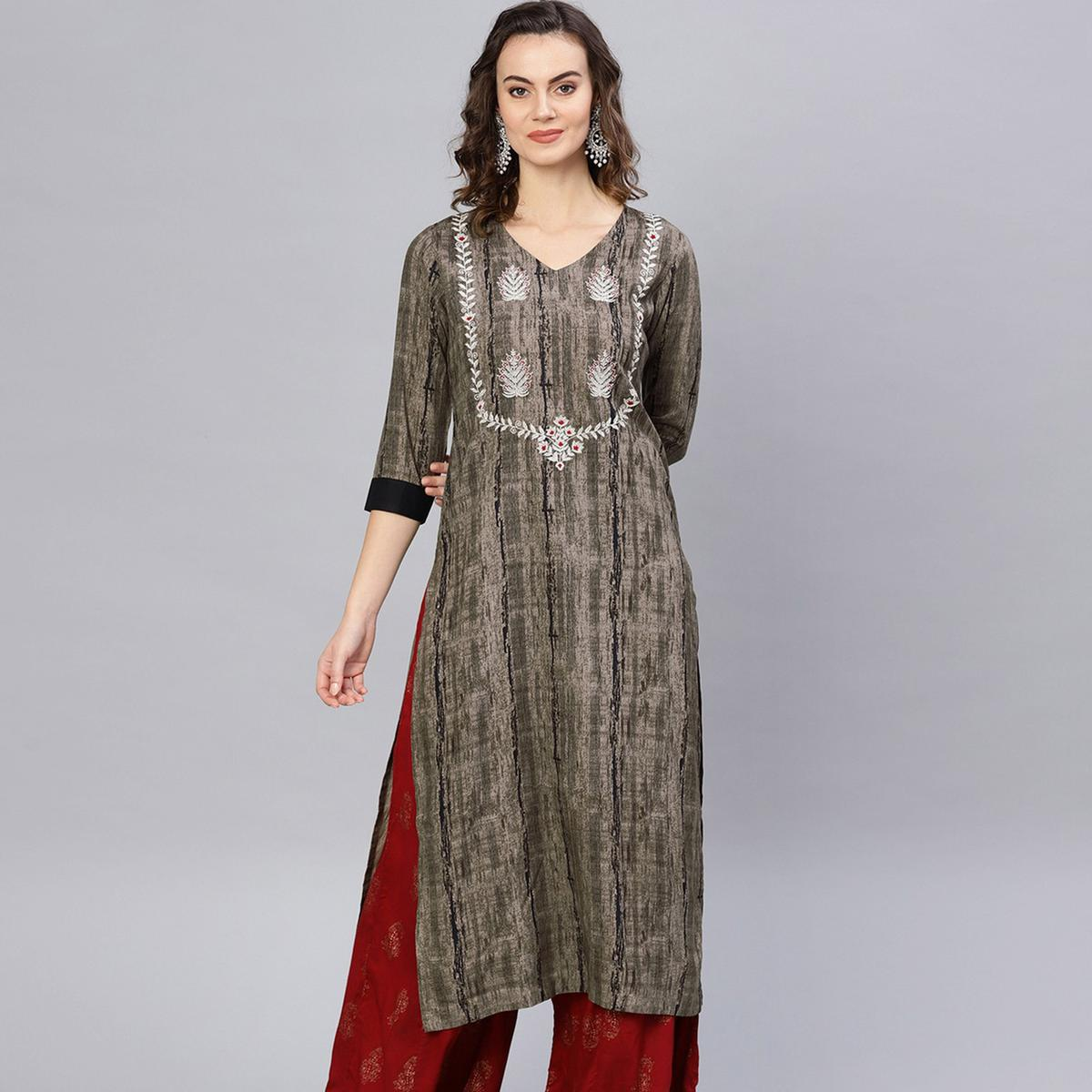 Opulent Green Colored Party Wear Embroidered Rayon Kurti