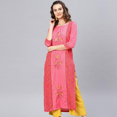 Energetic Pink Colored Party Wear Embroidered Crepe Kurti