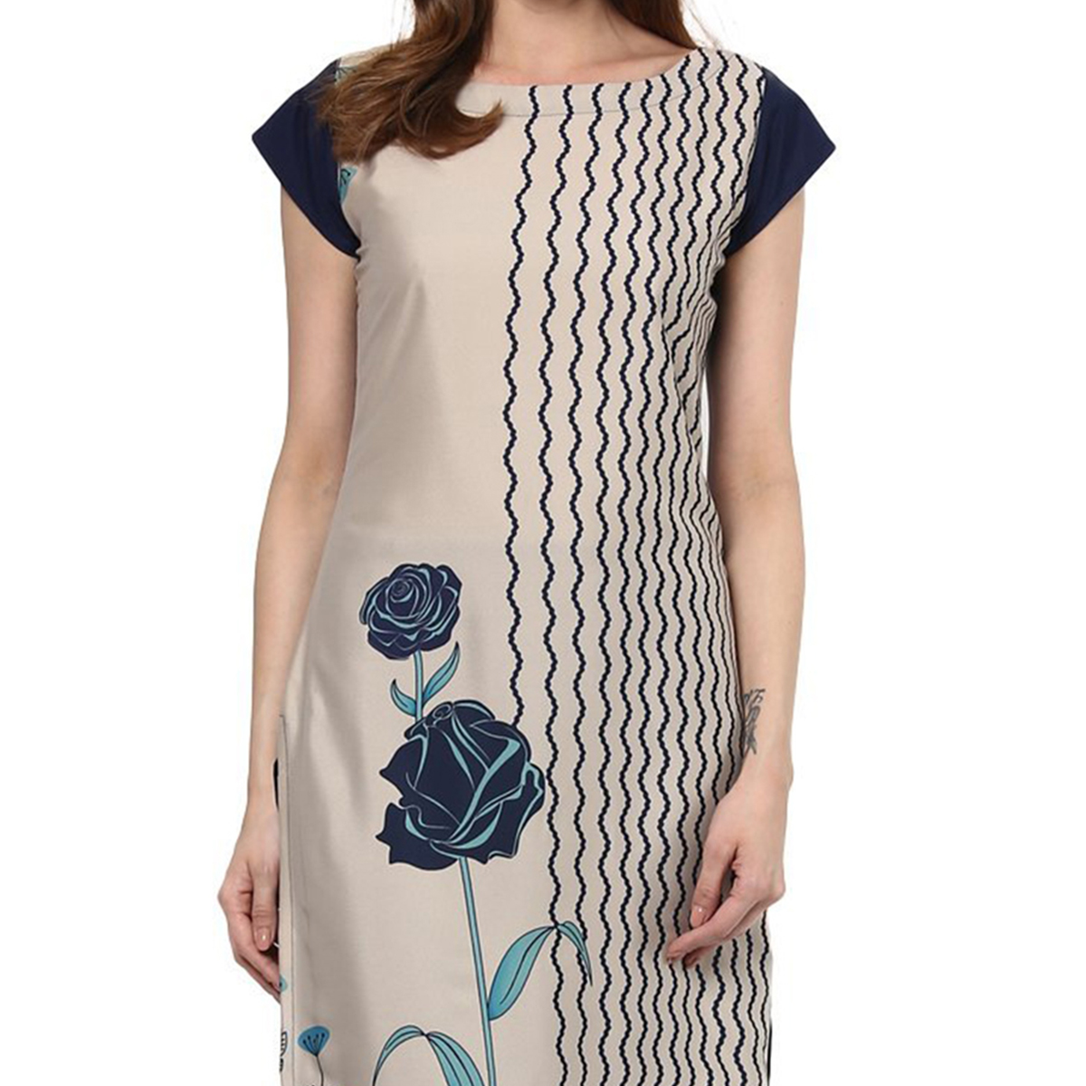 Beige Regular Wear Printed Kurti