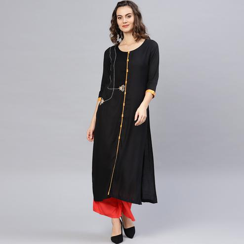 Exceptional Black Colored Casual Wear Rayon Kurti