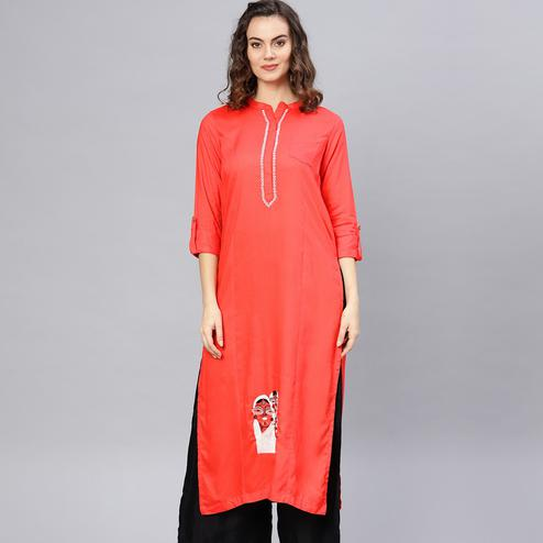 Gleaming Orange Colored Casual Wear Rayon Kurti