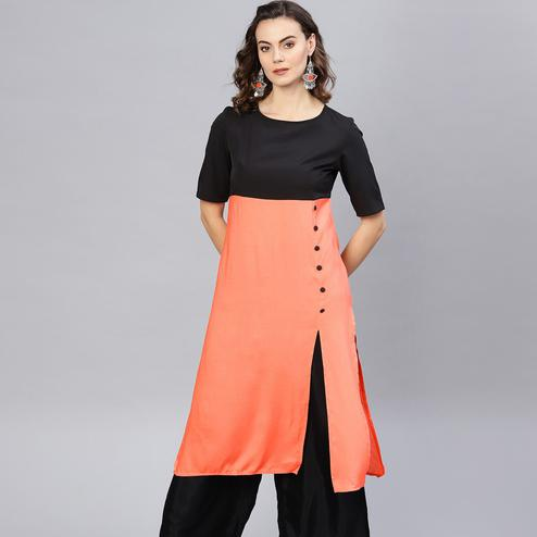 Demanding Peach Colored Casual Wear Viscose Rayon Kurti