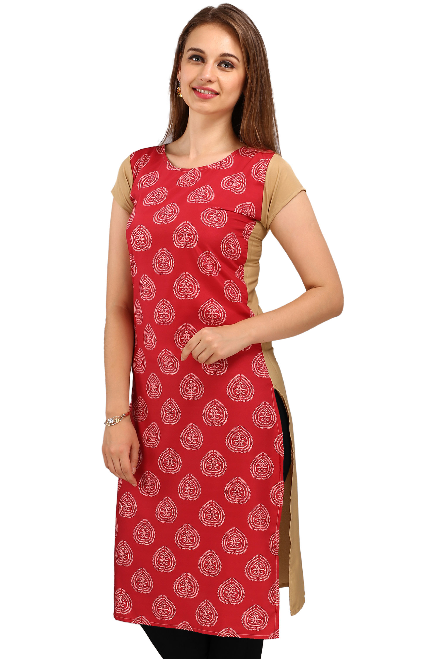 Red Casual Wear Printed Kurti