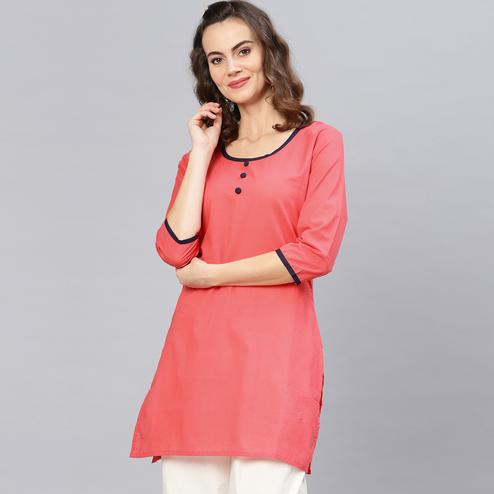 Stunning Coral Colored Casual Wear Cotton Kurti