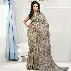 Beige - Blue Printed Pashmina Saree