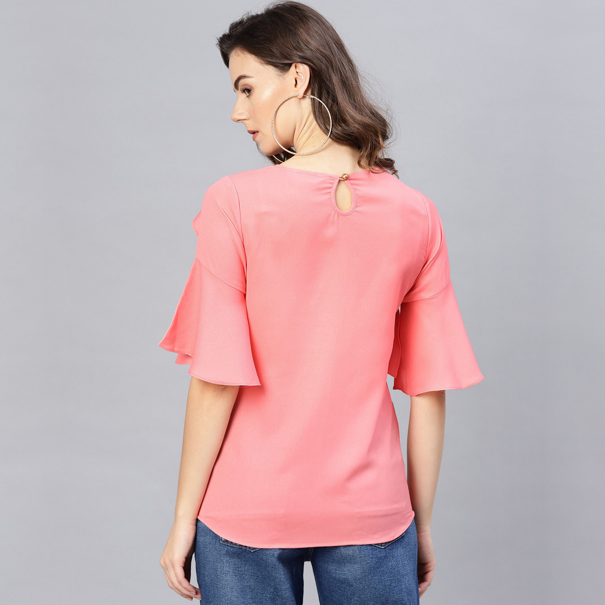 Graceful Pink Colored Casual Wear Bell Sleeves Polyester Top