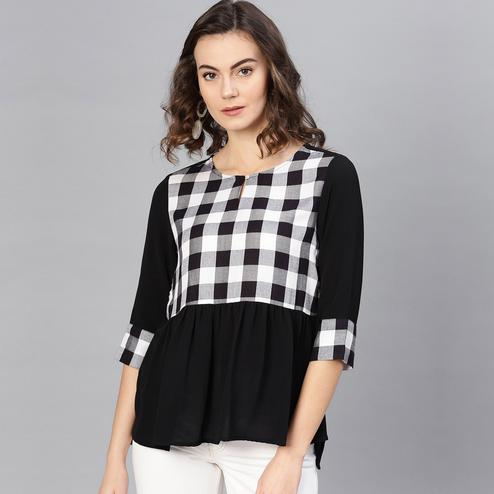 Blooming Black Colored Casual Wear Checked Polyester-Rayon Top