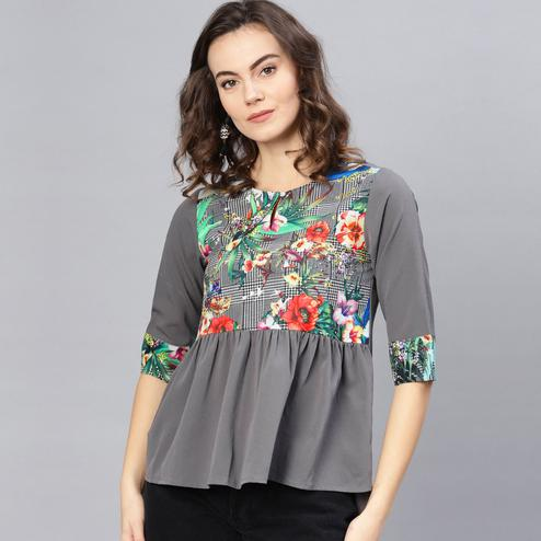 Charming Grey Colored Casual Wear Floral Printed Polyester Top