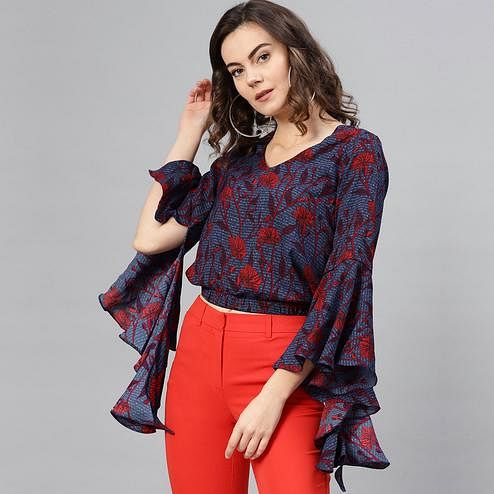 Jazzy Blue Colored Casual Wear Bell Sleeves Floral Printed Polyester Top