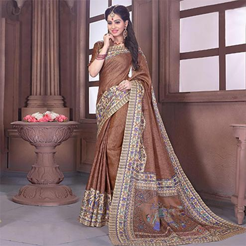 Brown - Beige Bhagalpuri Silk Saree