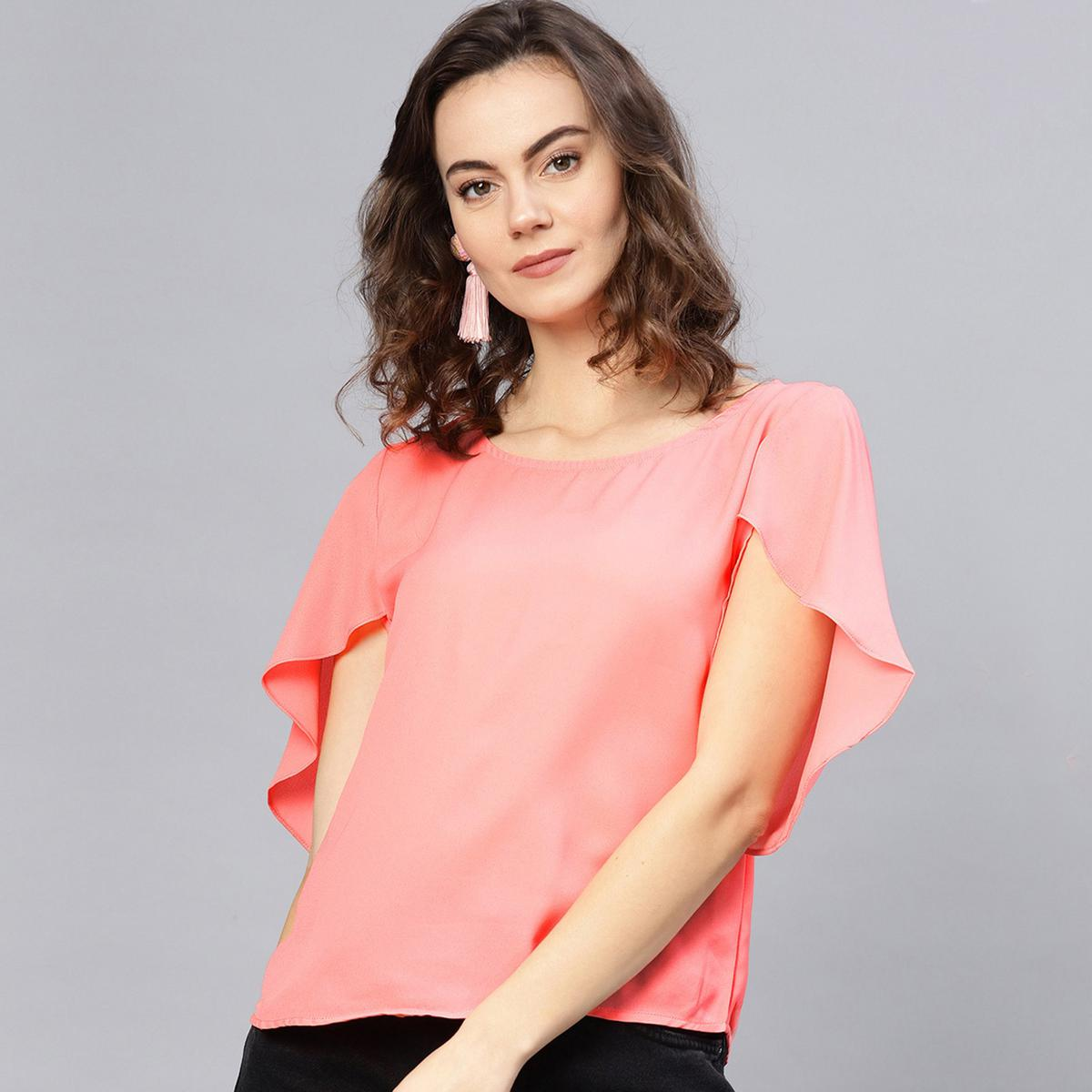 Captivating Pink Colored Casual Wear Polyester Top
