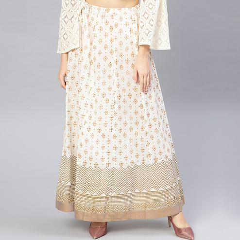 Amazing White Colored Party Wear Printed Cotton Skirt