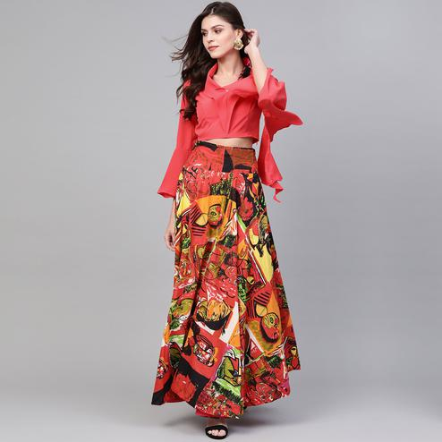 Majesty Coral Colored Casual Wear Printed Polyester Skirt Top