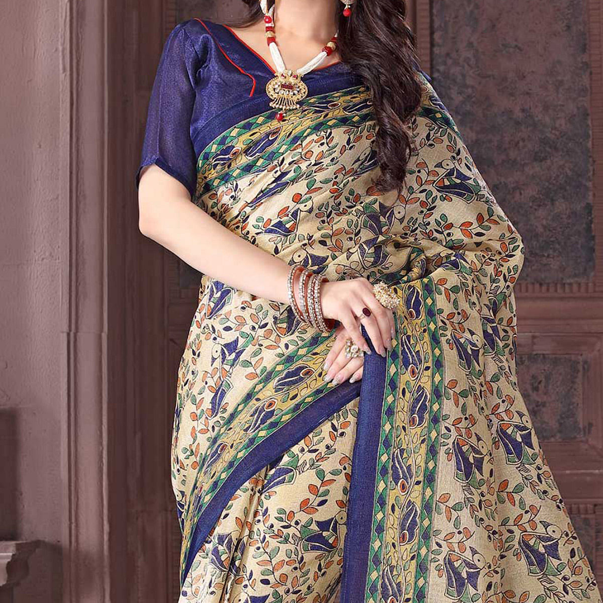 Beige - Navy Blue Bhagalpuri Silk Saree