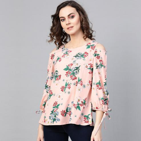 Pleasance Peach Colored Casual Wear Cold Shoulder Floral Printed Polyester Top