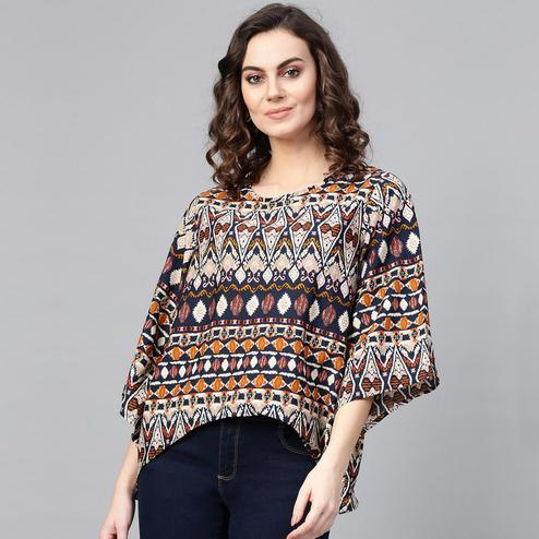 Breathtaking Multi Colored Casual Wear Printed Crepe Top