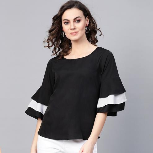Ethnic Black Colored Casual Wear Bell Sleeves Polyester Top