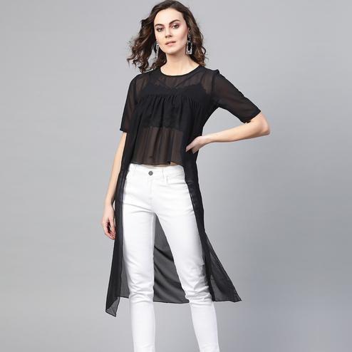 Prominent Black Colored Casual Wear Georgette Top