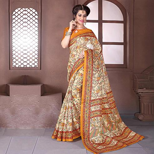 Beige - Orange Bhagalpuri Silk Saree