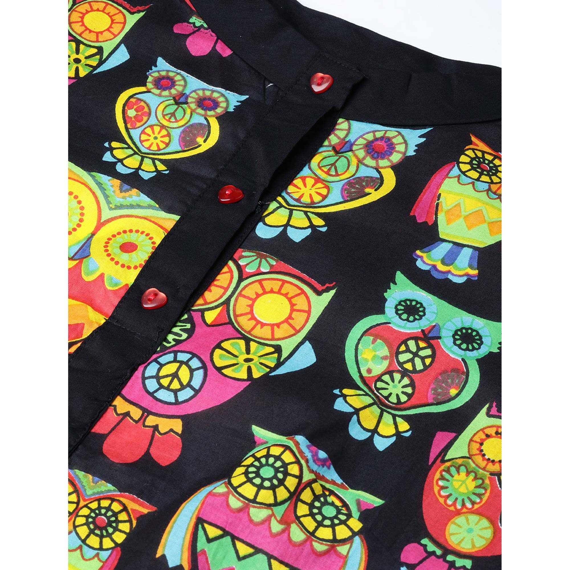 Capricious Black Colored Casual Wear Printed Cotton Kurti