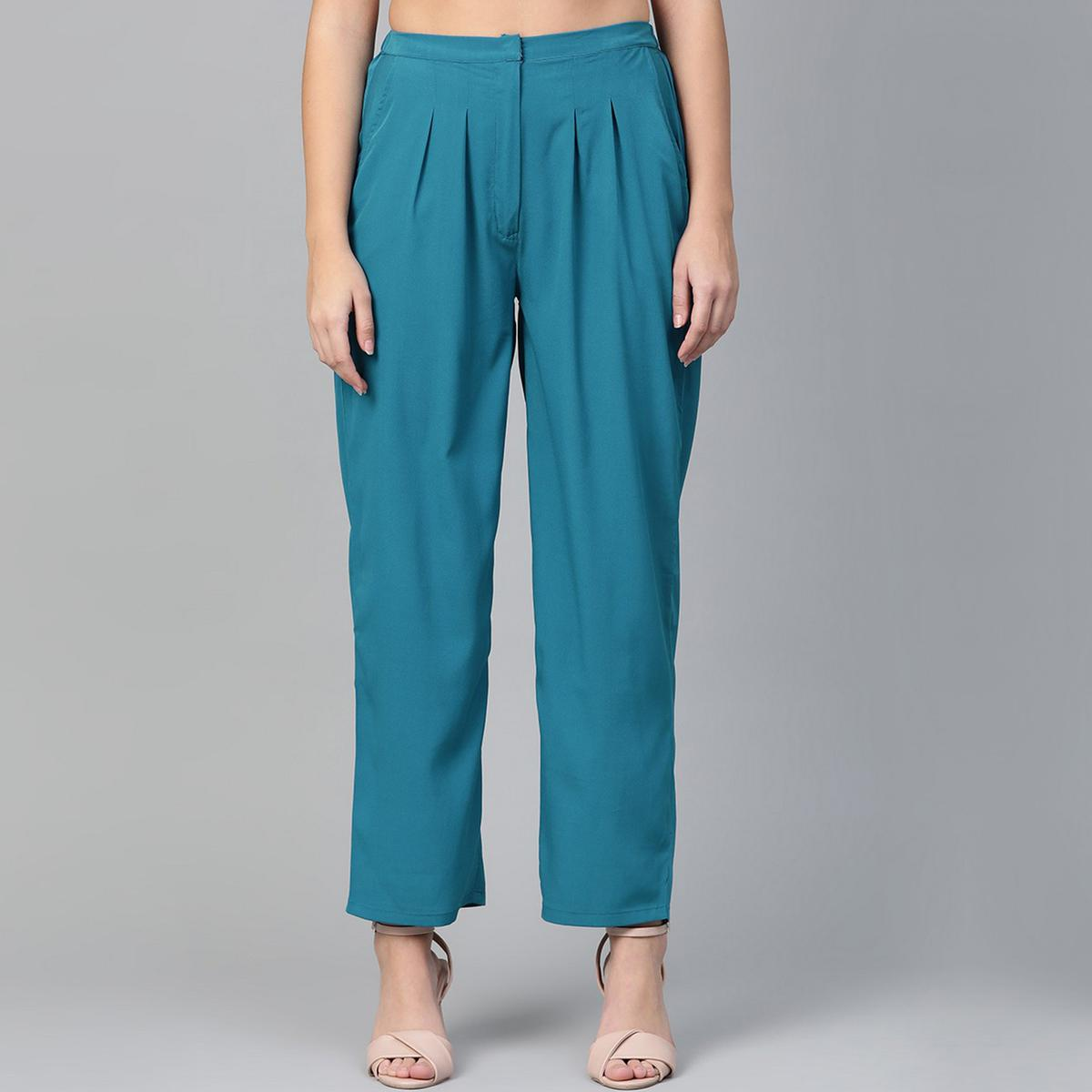 Entrancing Blue Colored Casual Wear Polyester Trouser