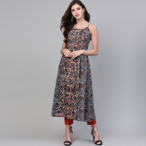 Exclusive Navy Blue Colored Casual Wear Printed Cotton Kurti