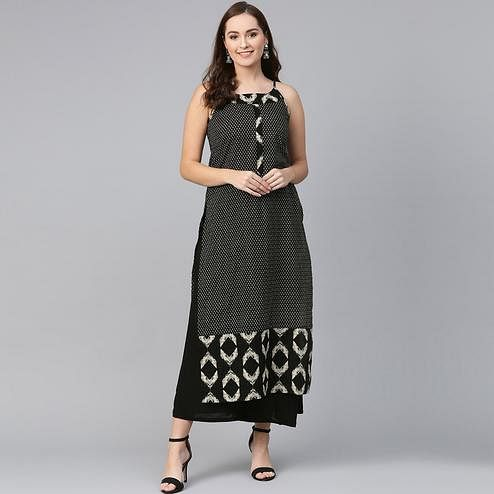 Arresting Black Colored Casual Wear Printed Cotton Kurti