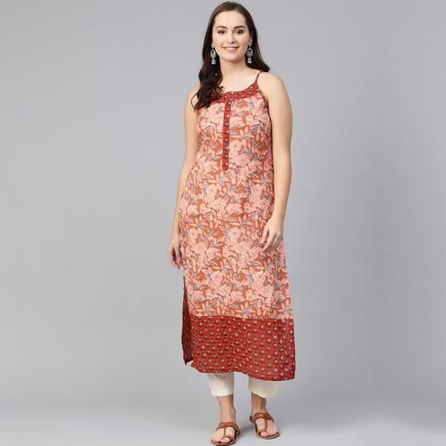 Desirable Peach Colored Casual Wear Floral Printed Cotton Kurti