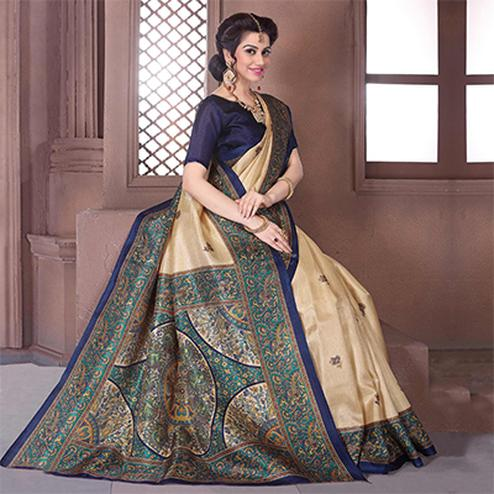 Cream - Green Casual Wear Saree