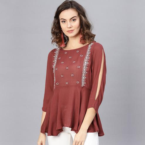 Sophisticated Maroon Colored Casual Wear Embroidered Rayon-Crepe Top