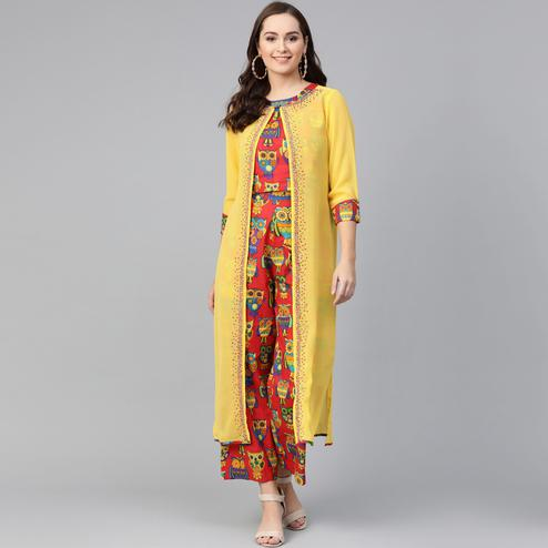 Radiant Red-Yellow Colored Party Wear Printed Cotton Georgette Top-Palazzo Set With Jacket