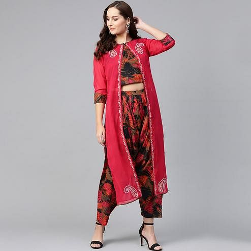 Pleasant Brown-Pink Colored Party Wear Printed Cotton Georgette Top-Dhoti Set With Jacket