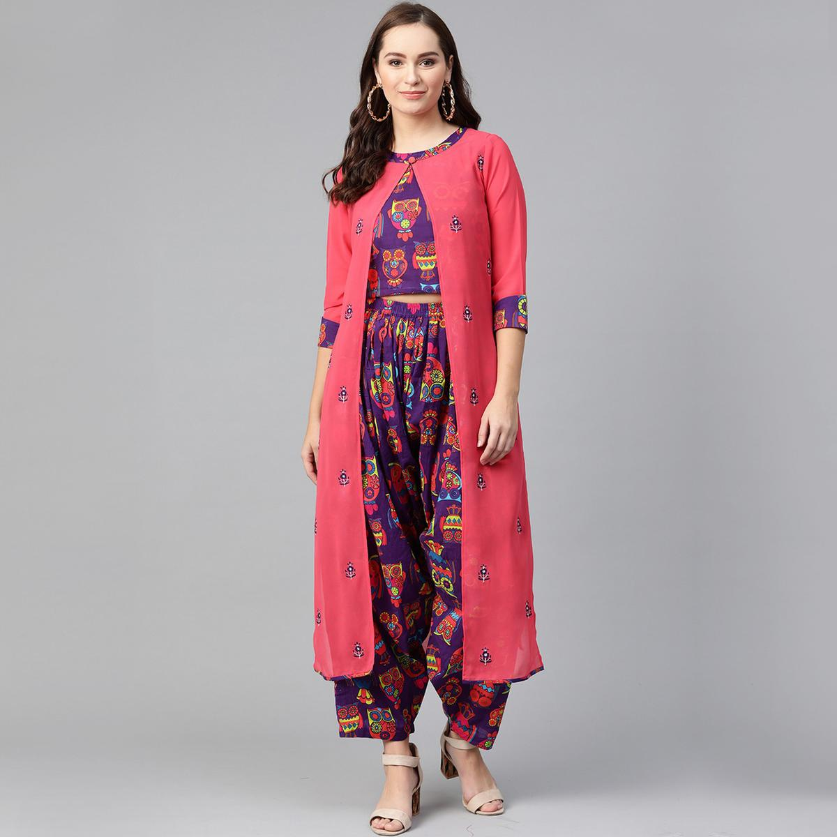 Opulent Purple-Pink Colored Party Wear Printed Cotton Georgette Top-Dhoti Set With Jacket