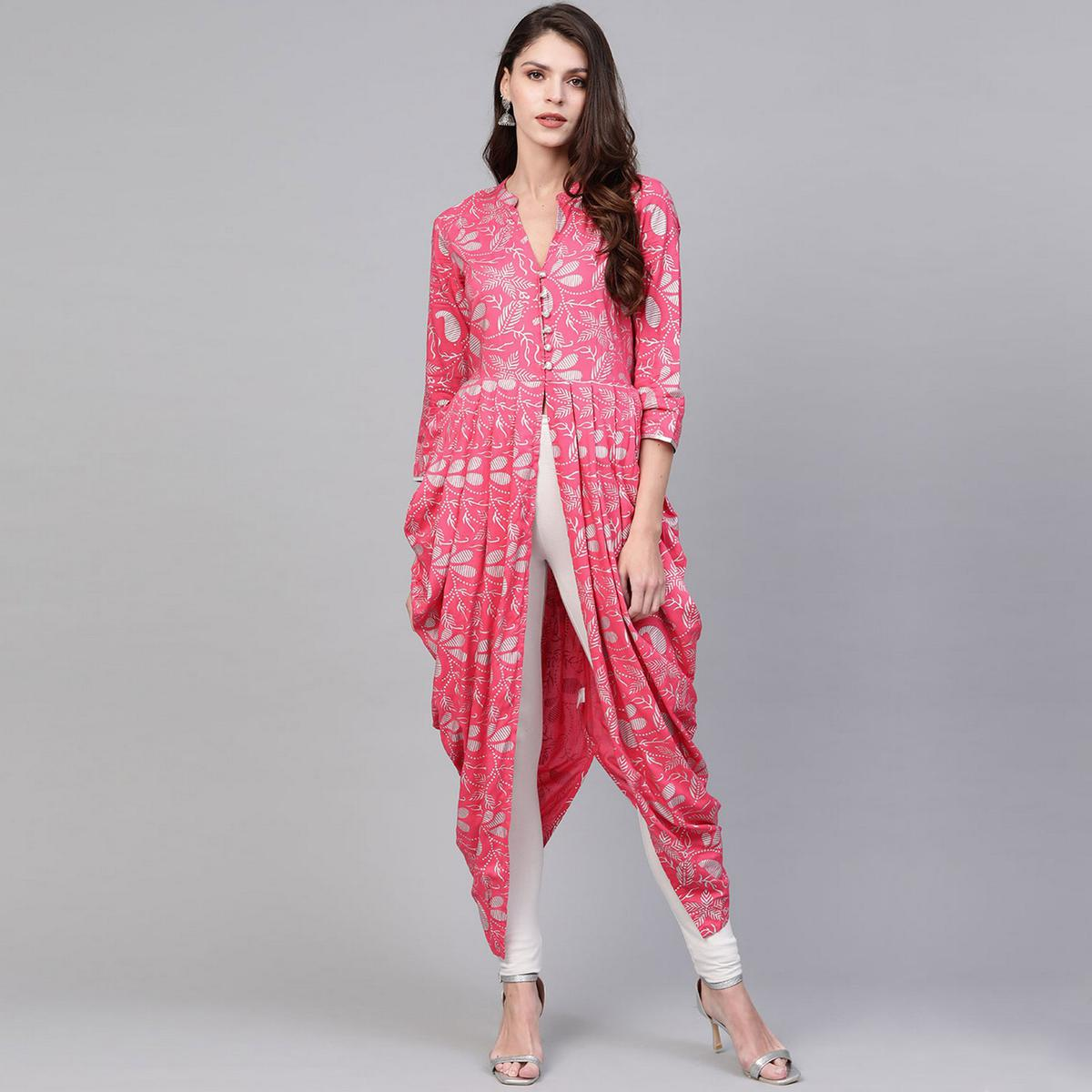 Exceptional Pink Colored Party Wear Printed Rayon Kurti