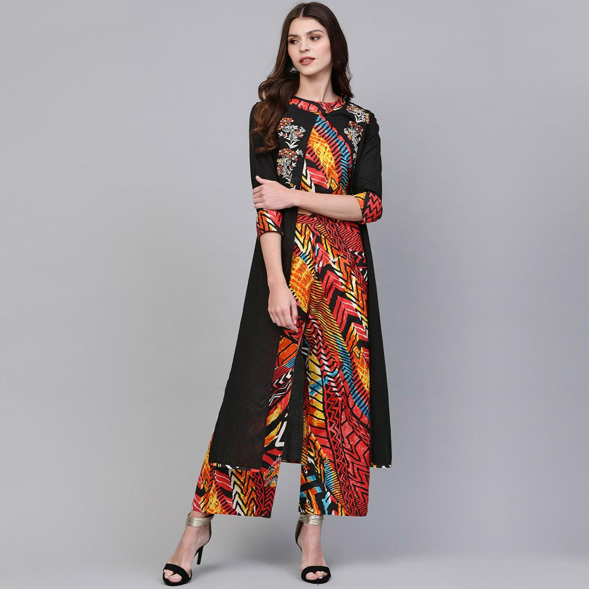 Gleaming Multi-Black Colored Party Wear Embroidered-Printed Cotton Top-Palazzo Set With Jacket