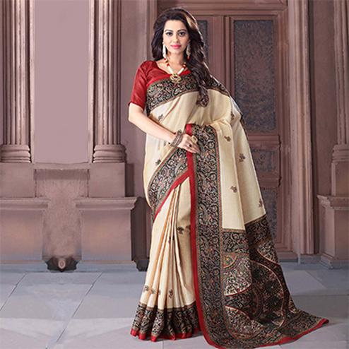 Cream - Black Madhubani Print Saree