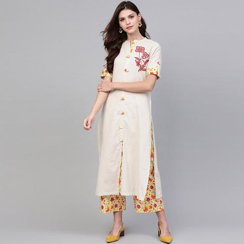 Mesmeric Off White Colored Casual Wear Embroidered Cotton Kurti-Palazzo Set