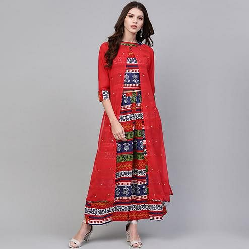 Refreshing Red-Blue Colored Party Wear Printed Cotton Georgette Top-Palazzo Set With Jacket