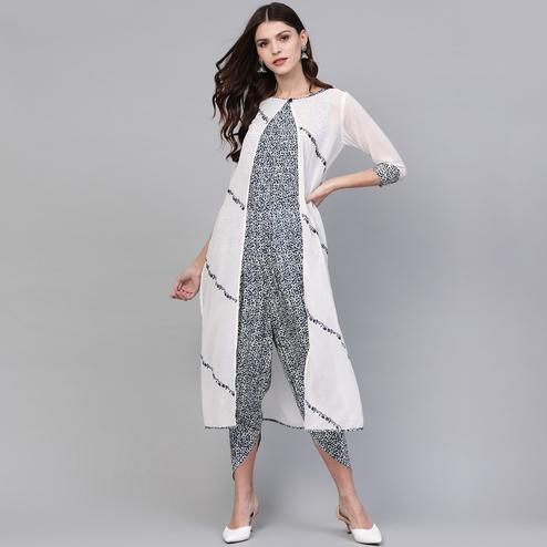 Magnetic Blue-White Colored Party Wear Printed Georgette-Rayon Jumpsuit With Jacket