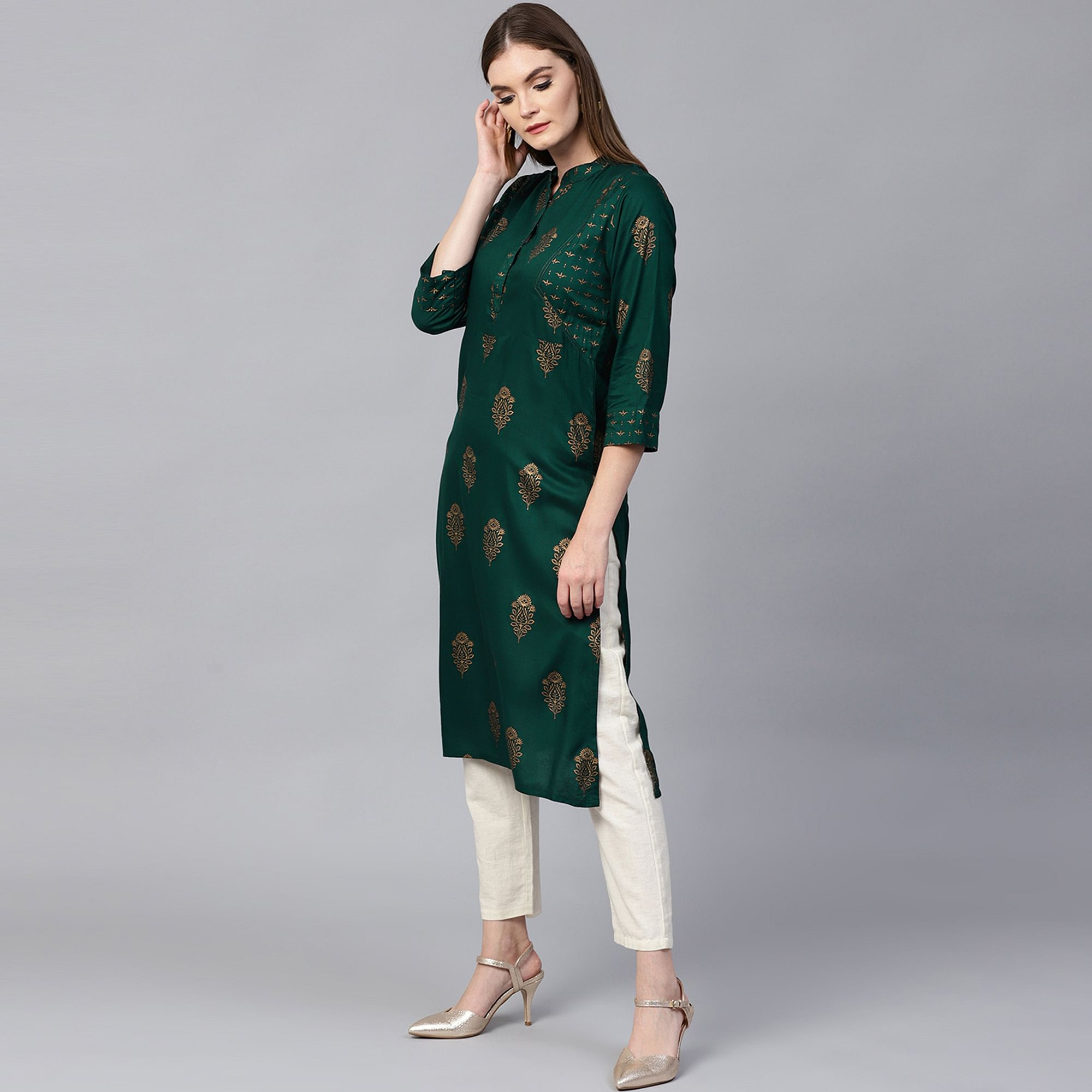 Adorable Green Colored Party Wear Foil Printed Viscose-Rayon Kurti