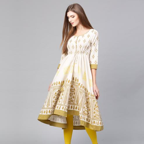 Glorious Off White Colored Casual Wear Printed Cotton Kurti