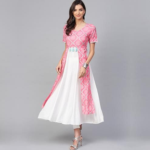 Beautiful Pink-White Colored Casual Wear Printed Viscose-Santoon Kurti