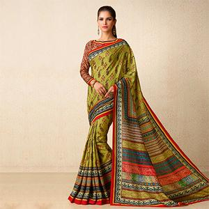 Green Tussar Silk Printed Saree