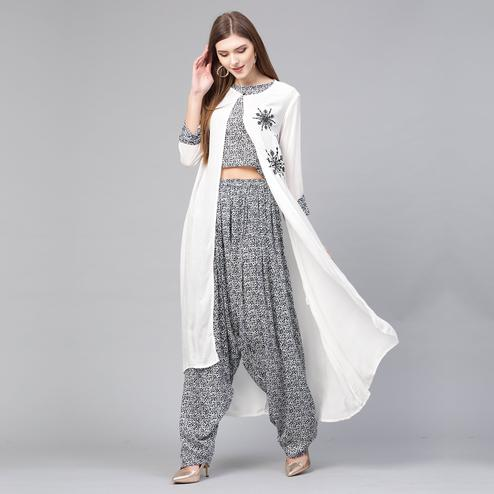 Blooming Black-White Colored Party Wear Printed-Embroidered Rayon-Crepe Top-Bottom Set With Jacket